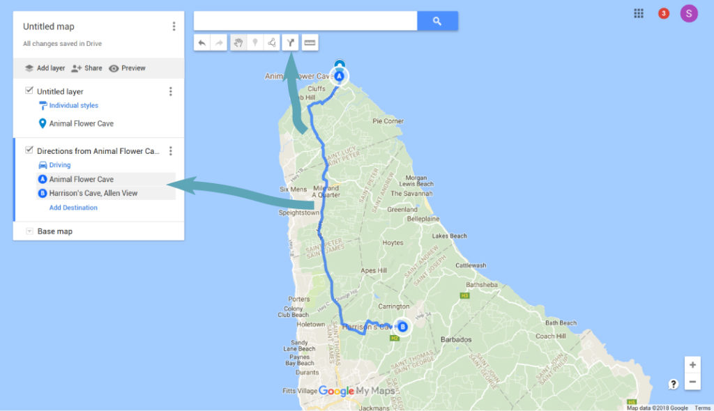 Adding A Driving Route - Google Maps for Travel Planning
